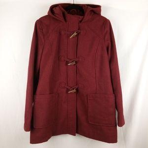 Merona Wool Parka Women Size XL Burgundy Hood
